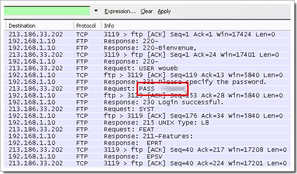Le FTP nest pas un protocole sécurisé : les passwords sont visibles en clair