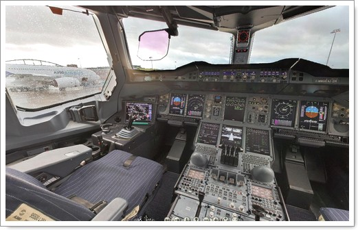 Pilotez un airbus a380 woueb by romain decker for Interieur airbus a380