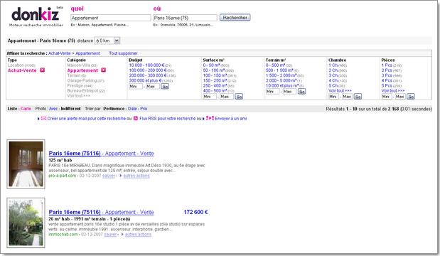 Donkiz, métamoteur de recherche immobilière : affichage des résultats