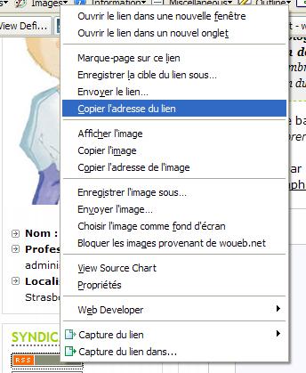 Sous Firefox : copier l'adresse du lien