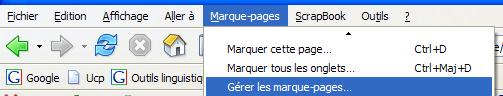 Marque-pages -> Gérer les marque-pages
