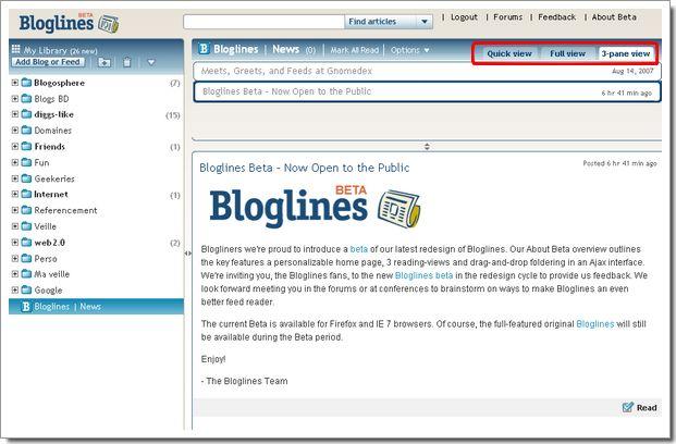 Nouvelle version de Bloglines, un lecteur de flux pas comme les autres