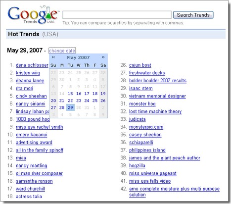 Google Hot Trends