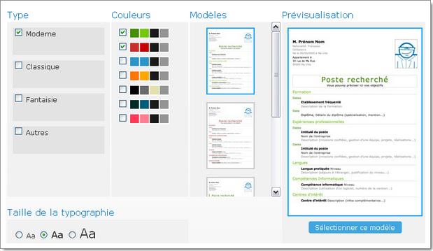 Création d'un nouveau CV : choix du modèle et des couleurs