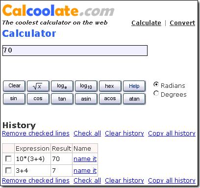 Calcoolate, une calculatrice AJAX en ligne - wOueb.net