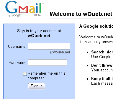 Webmail powered by Google - wOueb.net