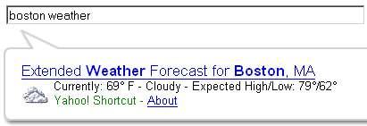 Exemple d'une recherche avec Yahoo! Instant Search