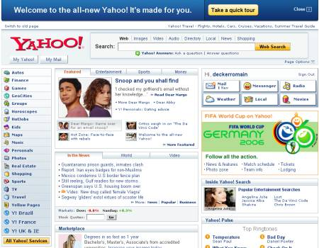 Nouvelle interface de Yahoo!