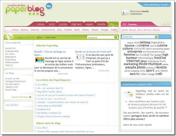 Interface thématique de Paperblog
