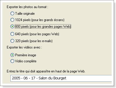 Picasa - Exporter sous forme de page web