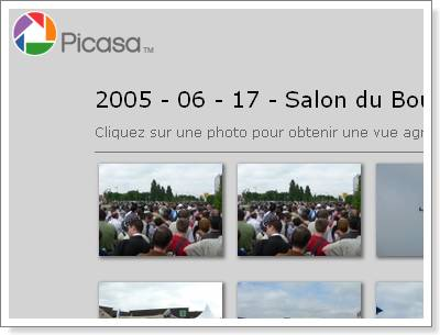 Picasa - Page web