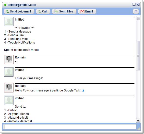 Accèdez à Pownce à partir de votre messagerie instantanée grâce à Imified : ici l'essai avec Google Talk
