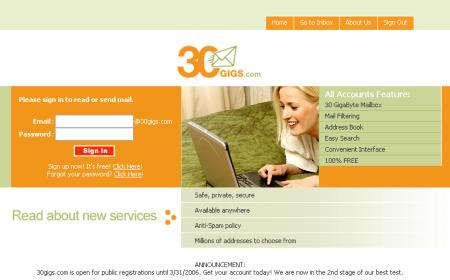 30gigs, service de stockage de mail - wOueb.net