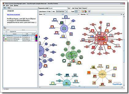 Touchgraph : nébuleuse de sites autour de woueb 2.0