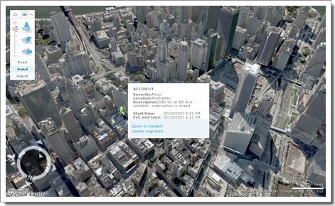 Infos trafic à New York en 3D : Windows Live Local