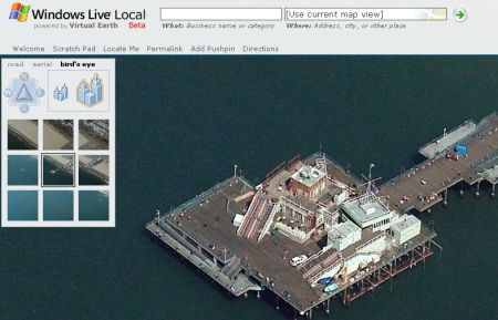 Windows Live Local : le ponton de Santa Monica, Los Angeles - wOueb.net