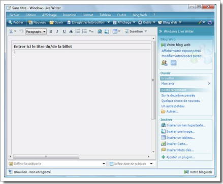 Interface de Windows Live Writer Beta 2