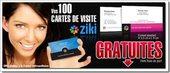 Ziki vous offre 100 cartes de visites