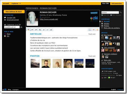Nouvelle interface de Ziki : gestionnaire d'identité numérique