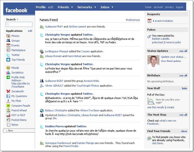 Facebook home page : fonctionnalité News Feed qui vous renseigne sur tous vos contacts