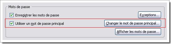 Déclaration d'un mot de passe principal Firefox