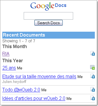 Version mobile de Google Document