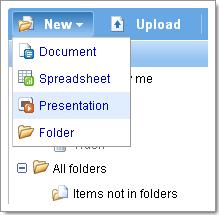 Créer un nouveau diaporama avec Google Presentation