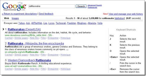 Expérimentations de Google : raccourcis clavier pour naviguer dans les résultats de recherche