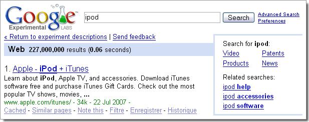 Expérimentations de Google : barre de navigation à droite permettant également l'affichage de liens associés