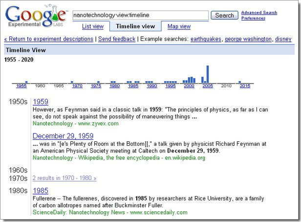 Expérimentations de Google : résultats présentés sous forme d'une frise chronologie