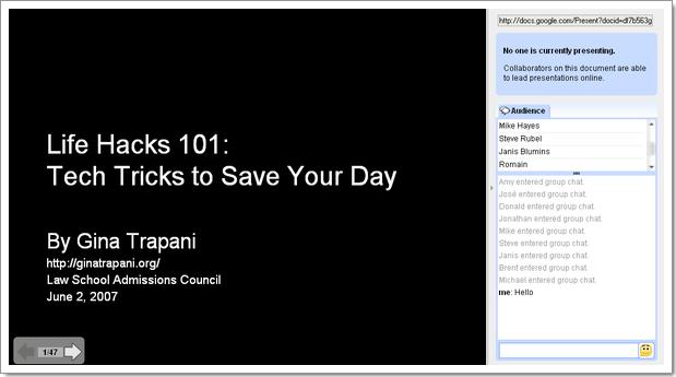 Google Presentation : diaporama online