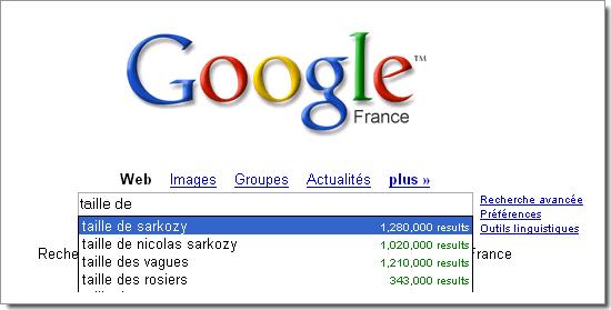 Google Suggest : les internautes sont passionnés par la taille de notre président