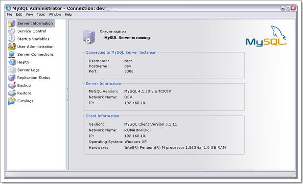 MySQL Administrator : écran d'accueil, informations récapitulatives