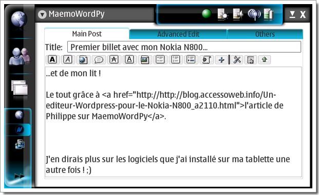 Blogging sur MaemoWordPy à partir de mon Nokia N800
