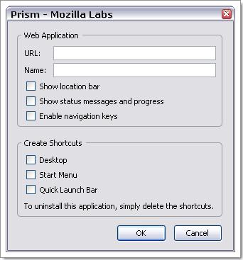 Ecran de configuration de Prism