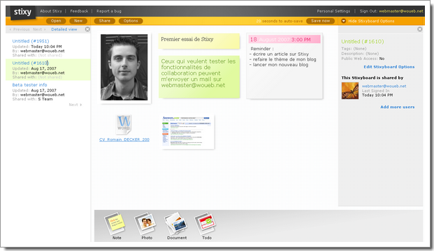 Mon dashboard sur Stixy : notes, images, documents, collaboration