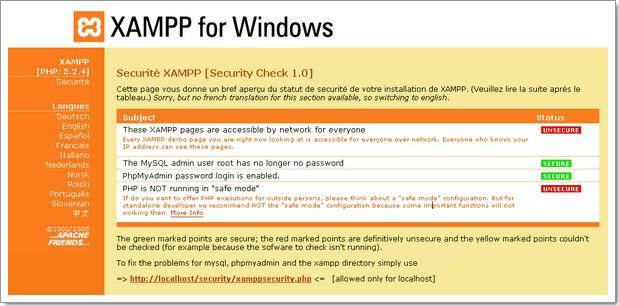 Wordpress sur une clé USB : modification des paramètres de sécurité de Xampplite