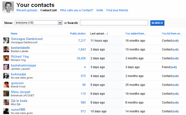 Gestion des contacts sur Flickr