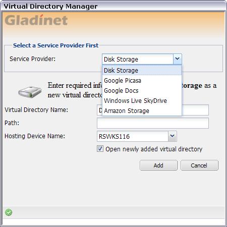 Gladinet : add storage resource