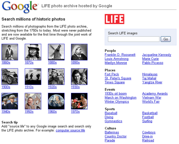 Google héberge les archives photos du magazine Life