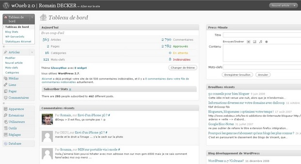Nouveau dashboard Wordress 2.7