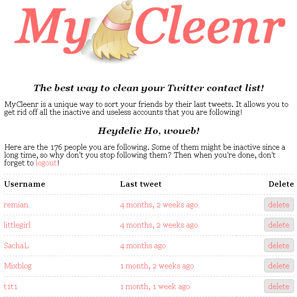 Nettoyer vos contacts Twitter avec MyCleenr