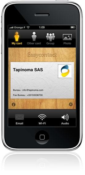 Echange de carte de visite sur iPhone avec Easycontact