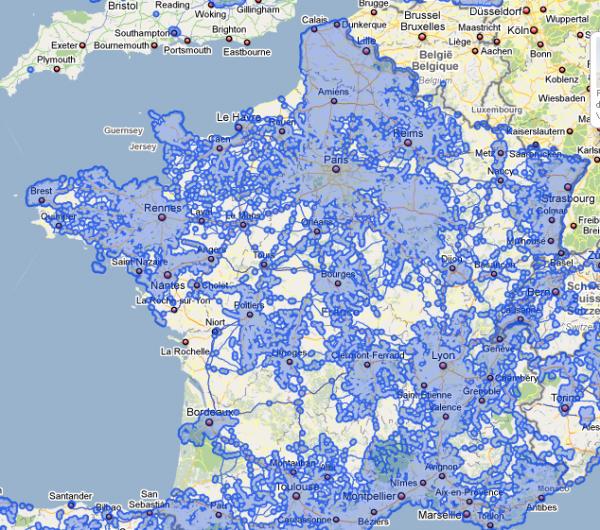 Google Maps Street View : couverture de la France