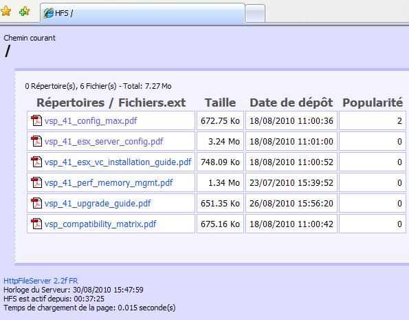 HFS HTTP File Server : vue navigateur