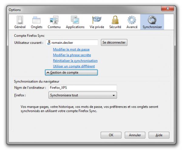 Firefox Sync : paramètres de configuration