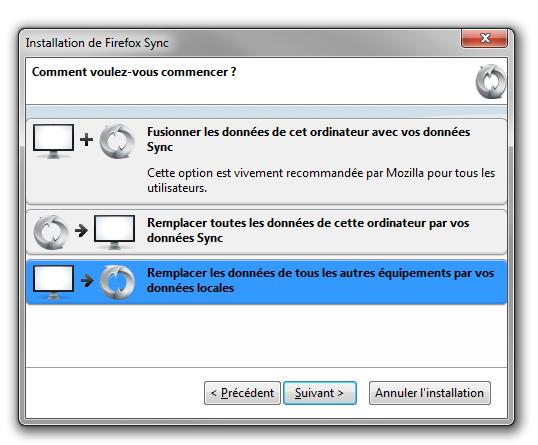 Firefox Sync : installation