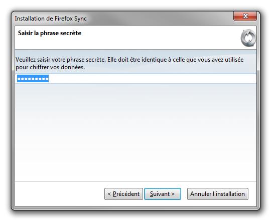 Firefox Sync : création compte