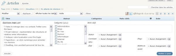 Modification de masse des articles sur WordPress