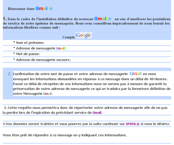 Tentative de phishing sur Gmail via un courrier électronique